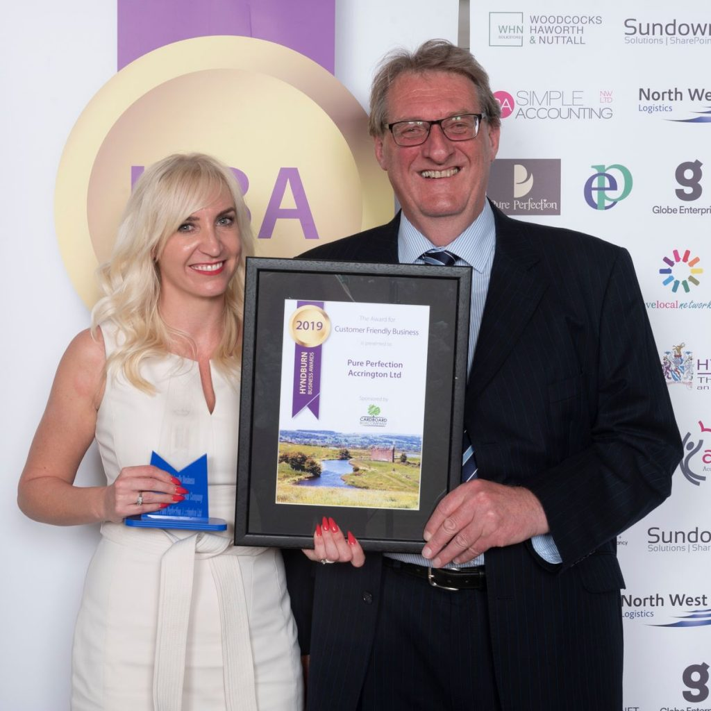 Customer-Friendly-Business-winner-Pure-Perfection-Accrington-Ltd-Carla-Chatburn-and-sponsor-Ken-Shackleton